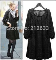 UK  New 2014 ZA Women Spring Autumn Winter Plus size XL XXL XXXL 4XL 5 XL Dress Smart Casual Three quarter Black Tweed dresses