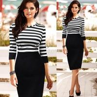 Plus Size 2014 New Fashion Women Summer Dress Knee Length Bodycon Dress Casual Dress Stripe Color Block Tunic Dress b7 SV002777