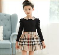 5pcs/lot 2014 New arrival spring autumn girl dress fashion cute lovely England style plaid patchwork princess child dress  C636
