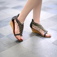 2014 New sandals for women  wedge sandals ankle strap toe clip sandals zipper women cross chain sandals  EUR 35-43