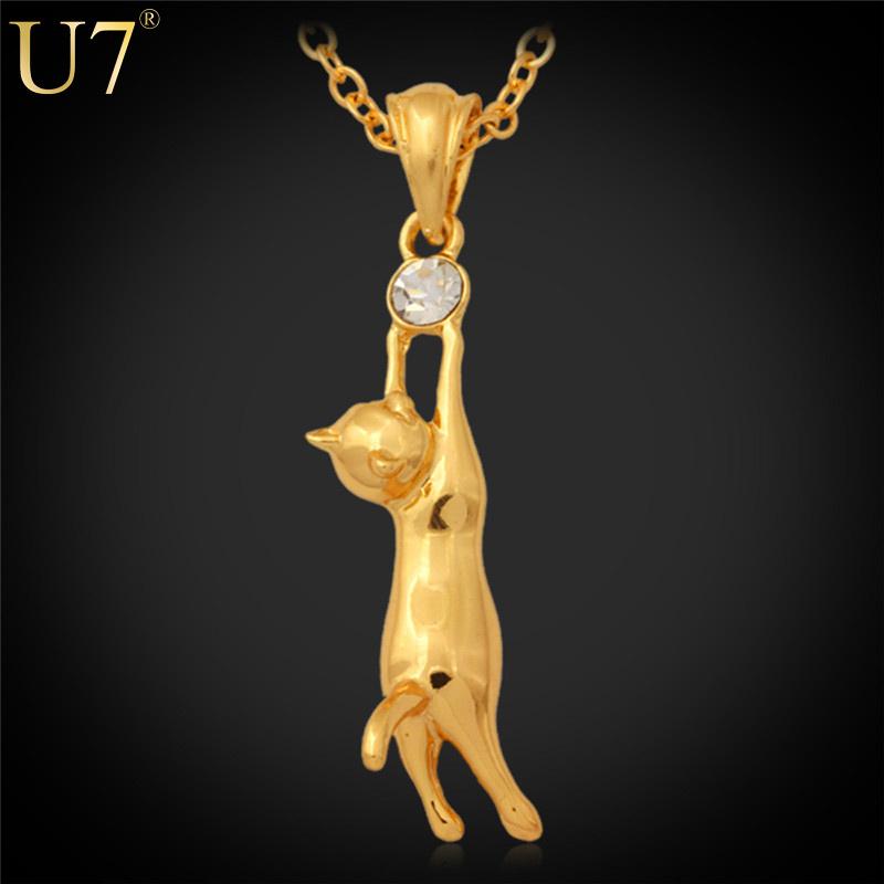 U7 Lovely Cat Necklace Pet Jewelry 18K Real Gold Plated Rhinestone Fashion Jewelry Trendy Animal Pendant