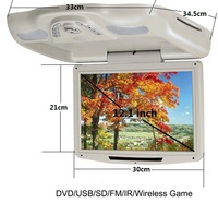 12.1 Inch Car Overhead DVD Player Monitor,Two Dome Lights,Car Roof Mount Flip Down DVD Monitor,Car MP3/MP4 Player