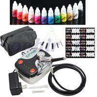 OPHIR Nail Tools 0.3mm Airbrush Kit Mini Air Compressor for Nail Art Airbrushing Stencils&Nail Polish& Bag&Brush Set #OP-NA001B