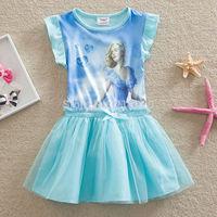 Frozen Anna Elsa kids baby Girls' Frozen Dress summer dress girl princess dress girl's lovable dress free shipping