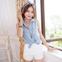 New Women Casual Denim Vest Jacket Sleeveless Jean Coat Vest Shirt Tops fashion woman jeans  vests print flower denim  shirts