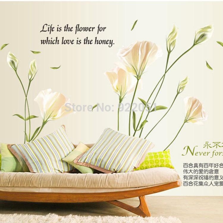 Witte woonkamer sets : Online kopen Wholesale witte bloem muur sticker ...
