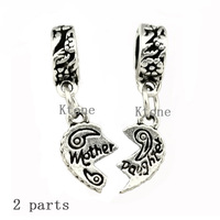 2 Pieces/lot, New Arrival 925 Silver Beads,Mother Daughter Heart to Heart Pendant Fit Pandora Bead Charms Bracelet & Necklace