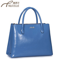 Nucelle New style genuine leather women handbag fashion blue cowhide handbags