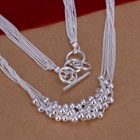 N002 free shipping wholesale 925 silver necklace, 925 silver fashion jewelry Smooth Ball Necklace / bzfakqmath