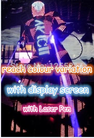 Mit bildschirm Stelzenläufer led kostüm/Kleidung/Licht/leuchtenden roboter anzüge extra lange Strecke mit antenne