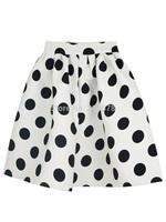 Real Photo 2015 New Black And White Polka Dot High Waist Knee-length Puff Skater Long A-line Skirt