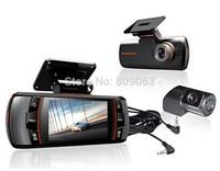 "A1 Car Black Box Allwinner Dual Lens Car DVR Full HD 1920x1080p+2.7"" LCD+External IR Rear Camera+ Night vision + G-sensor"