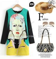 New 2014 Vintage Autumn And Winter Trend Beauty Head Portrait Design O-Neck Knee-Length Casual Cotton Dress B12 SV002418