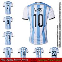 Argentina home Messi soccer jersey 2014 2015 fan version Embroidery Logo MARADONA KUN AGUERO DI MARIA jerseys free shipping