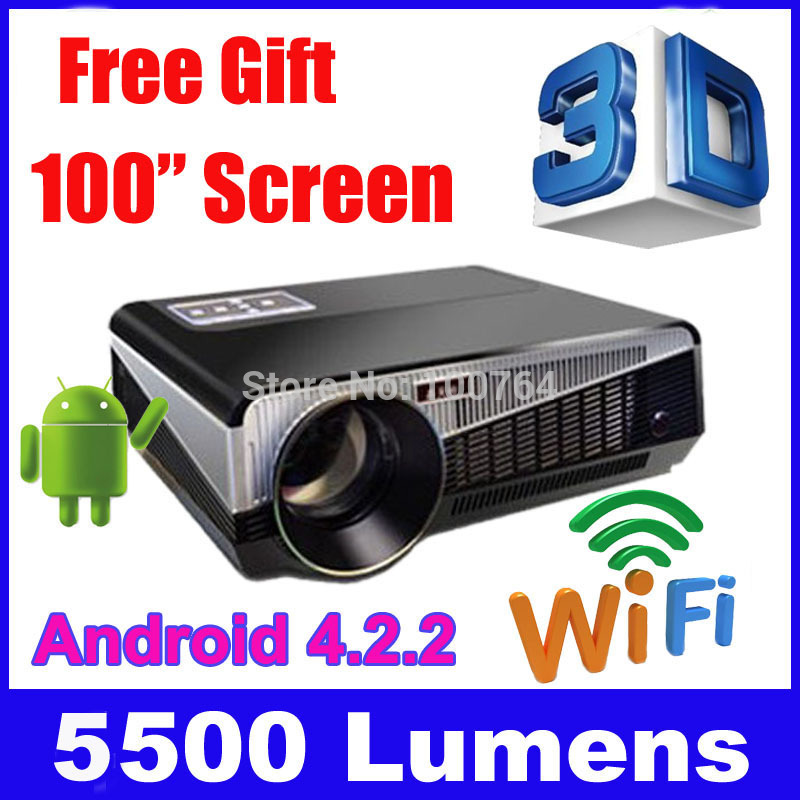 4500 lumen Android 4.2 1080P wifi led projector full hd 3d home theater lcd video proyector projektor tv screen phone beamer(China (Mainland))