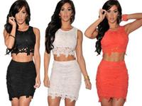 saias femininas 2014 sale XL Plus size 3 Color Graceful Sexy Two-piece Lace floral crop top and pencil skirts women clothing set