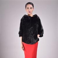 New fashion  women mink fur short coat overcoat O-Neck collar polyester lining three quarter sleeve  2014