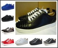 2014 new LOUIS JUNIOR SPIKES GOMME men's CALF flats France luxury designer brands red bottom men genuine leather sneakers