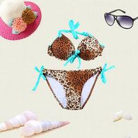 New 2014 victoria style swimwear  women , padded neoprene bikinis set, Leopard print  vintage swimsuits biquini bkn47