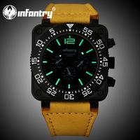INFANTRY Luxury Police Officer Men's Date & Day JP Quartz Wrist Watch Brown Genuine Leather New Design