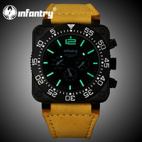 INFANTRY Luxury Police Officer Men's Date & Day JP Quartz Wrist Watch Brown Genuine Leather New Design