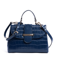 2014 NEW Star Women's genuine leather handbags Lady crocodile pattern leather bags royal blue shoulder bags