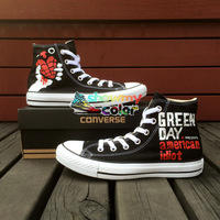 Punk Rock Band Green Day Black Converse Shoes Customized Canvas Sneaker Best Presents for Men Women
