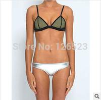 2014 Women's fashion Neoprene Bikinis New Arrival sexy candy Color Neoprene Swimsuit Set