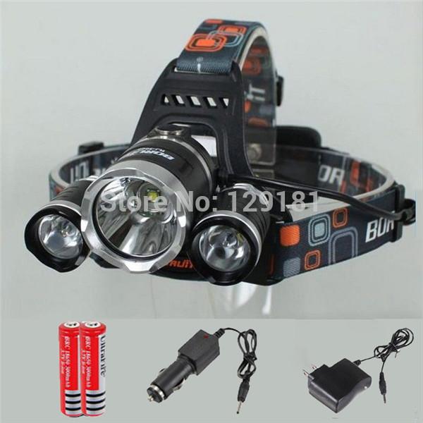 BIG SALE! 5000 lumens 3T6 Headlight Headlamp +2*18650 battery +Charger, 3xCREE XML T6 LED 5000 Lumens Headlight LED Head lamp(China (Mainland))