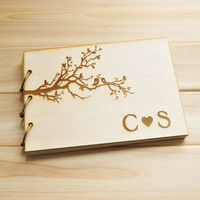 "Custom Wedding guestbook, personalized wood rustic guest book album bridal shower engagement anniversary- ""Love Tree Branch"""