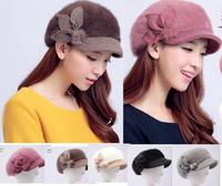 2014 Brand New  Foldable Angola Wool Warm Winter Hats Rabbit  Fur Flower Visor  Beret  Hat Caps (12 Colors)