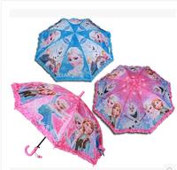 Retail E! FROZEN elsa anna kids umbrella Cartoon Peppa pig  Long Handle Straight Sun/Rain Stick Umbrella for kid Manual Paraso