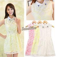 2014 Hot Sell Women Summer Sleeveless Casual Dress Elegant Bright Drill Zipper Hollow Out Floral Mini Dress 3 Colors B2 SV003469