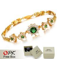 OPK JEWELRY Hot Selling AAA Zircon Green  Noble Queen Bracelet Bangle 18K Gold Plated Exquisite Workmanship, 416