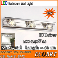ECOBRT-2014 Modern Industrial smd5630 6w Stainless Steel Led Wall Light Lamps for Decorative Bathroom mirror lighting AC 85-265v
