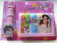 Hot sale! Free Shipping 1pcs/lot violetta wallet+watch sets , Children Watch with wallet,birthday gift for children