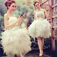 2014 New Arrival Rhinestone Lace Multi Layer Puffy Skirt Short Wedding Dress