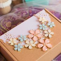 2014 new fashion elegant flowers gem lattice summer faux collar necklaces & pendants for Women