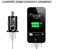 2014 New Micro Auto Universal Dual 2 Port USB Car Charger For iPhone iPad iPod 3.1A Mini Car Charger Adapter Cigar Socket Black