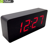 2014 new arrive Top Quality Alarm Clocks with Thermometer,Table Clocks,Big numbers Digital Clock,Wood Wooden Clocks LED display