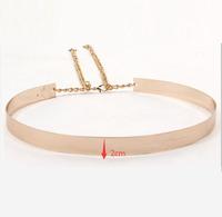 1PCS 66cm Women Punk Full Metal Mirror Waist Belt Metallic Gold Plate Wide Cummerbunds With Chains Lady AY671419