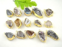 10pcs Pretty Jewelry Natural Color Chalcedony Stone Druzy Quartz Crystal Drusy Connectors Findings Pendants