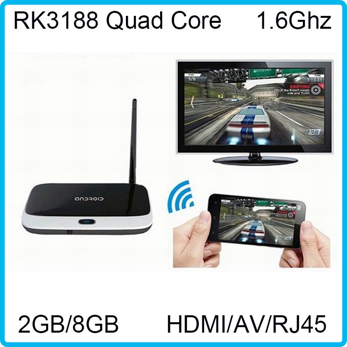 2PCS 2G 8G XBMC Andriod TV Box RK3188 28nm Cortex-A9 Quad core Android 4.2 HDMI WiFi Antenna GPU Mali 400 frequency 500Mhz(China (Mainland))