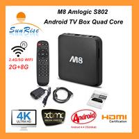 2.4G/5G dual band  M8 TV BOX Amlogic s802 Quad core  Android 4.4  XBMC 2G/8G OTT 4K TV BOX HDMI WIFI bluetooth mini PC