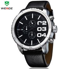 Diseño único de moda marca WEIDE hombres del cuarzo de japón del reloj análogo impermeable cuero genuino de la correa del estilo del negocio del reloj