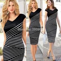 plus size 2015 summer Women Casual office work black V Neck Striped Bodycon bandage Wiggle Pencil womens vintage midi Dress 760