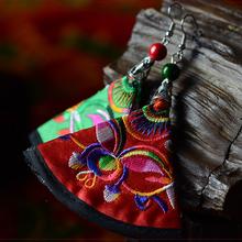 Big star handmade vintage Chinese wind embroidery silk fabric dangle earrings ,New Original  Ethnic jewelry stone fan earrings,(China (Mainland))