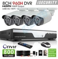 The video surveillance 800tvl security camera system Zmodo OEM 8channel cctv 960h dvr recorder system,HDMI, usb 3G wifi alarm