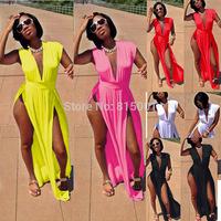 Plus 3XL New 2015 Women Autumn Dress White Sleeveless Maxi Long Party Dress V-Neck Open Side Sexy Beach Clubwear Casual Dress