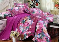 Flower tribute silk jacquard bedding set 4pc bed cover high quality comforter bedding sets bedding